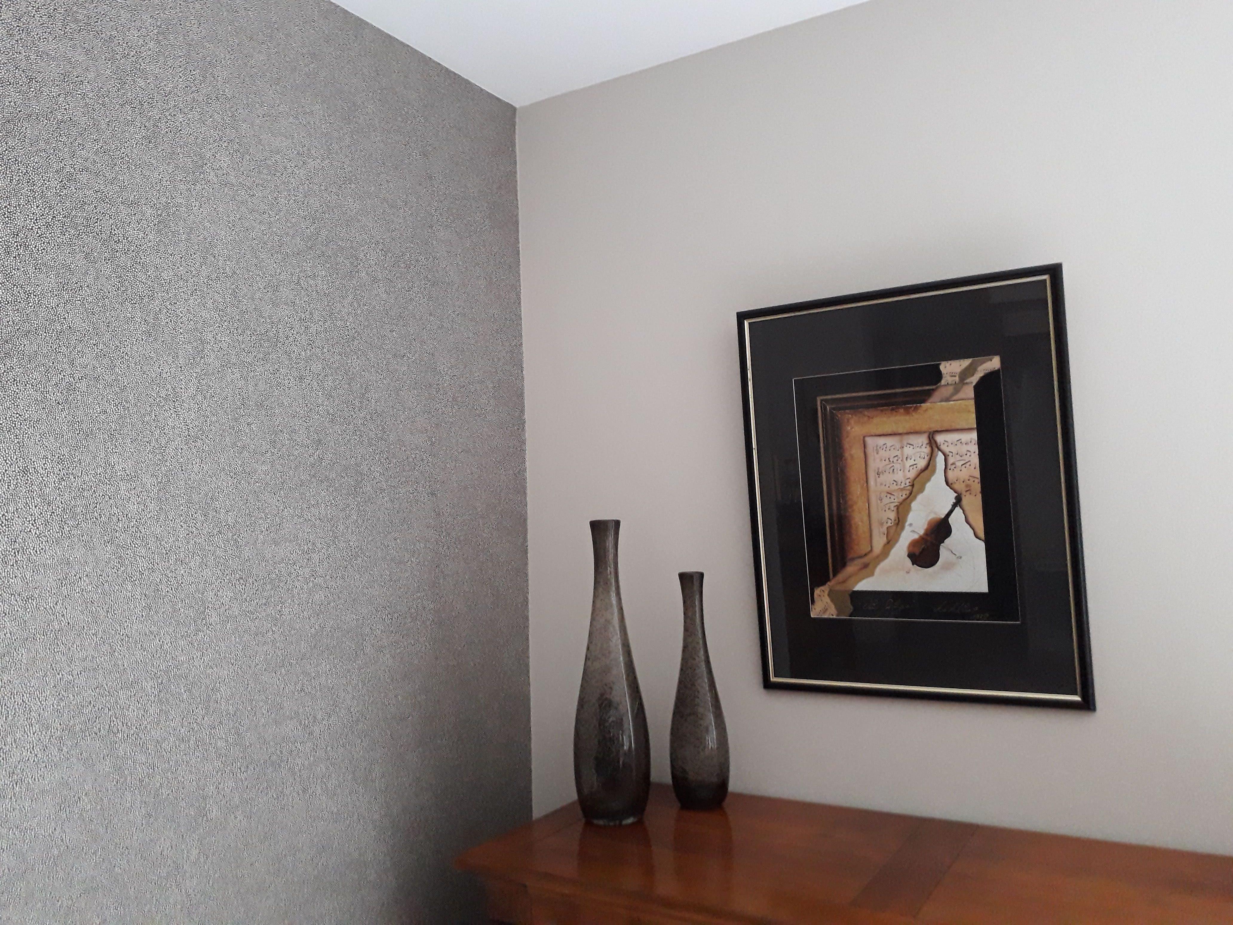 séjour Quintin 22 déco peinture papier peint point beige sur fond noir